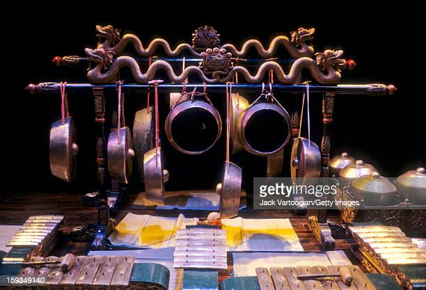 View of a variety of percussion instruments metallophones and gongs on stage prior to a performance of 'Retna Padmuya' by the New York Indonesian...