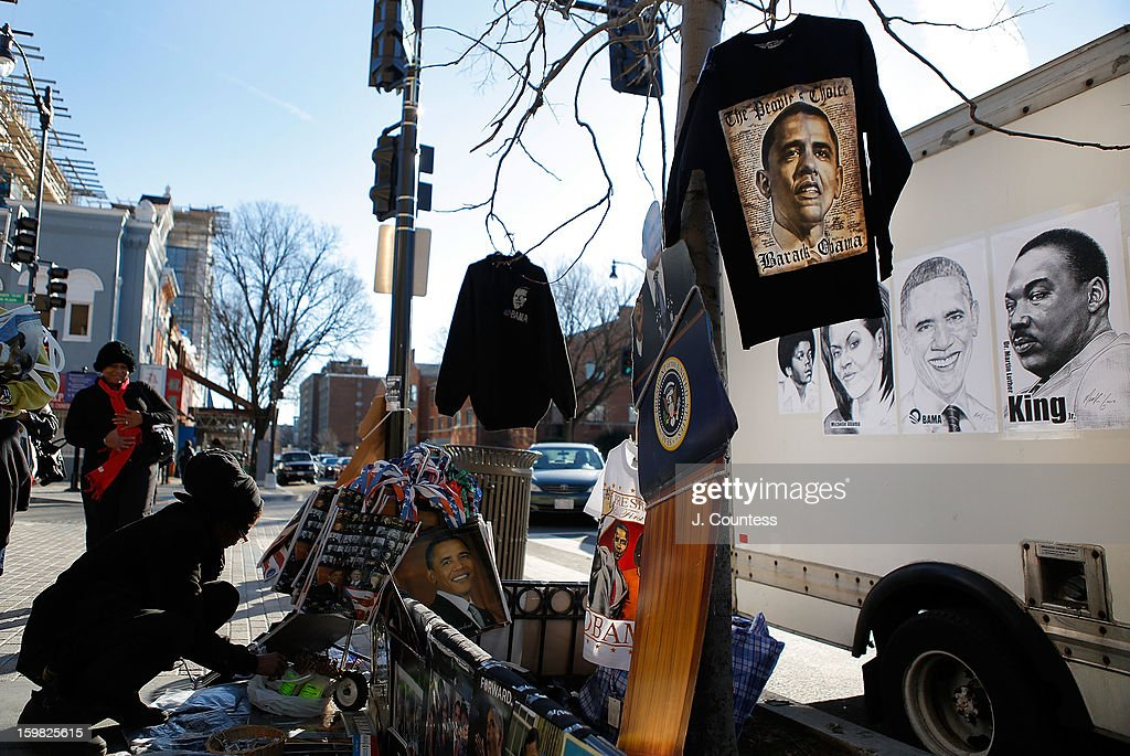 A view of a vendor stand selling various types of memorabilia in honor of the inauguration of President Barack Obama ahead of the 57th United States Presidential Inauguration on January 20, 2013 in Washington, United States.
