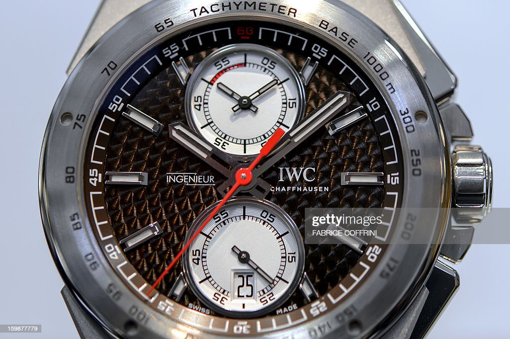 A view of a watch by Swiss watchmaker IWC, part of luxury goods group Richemont, on display during the opening day of the 'Salon International de la Haute Horlogerie' (SIHH), a professional fair in fine watchmaking on January 21, 2013 in Geneva.