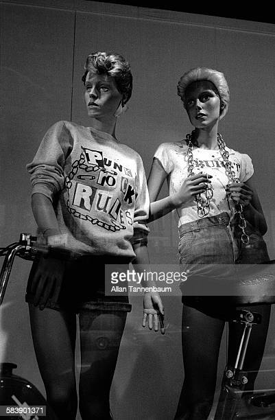 View of a window display of 'punk' fashion tshirts on sale at Macy's department store in Herald Square New York New York May 27 1977