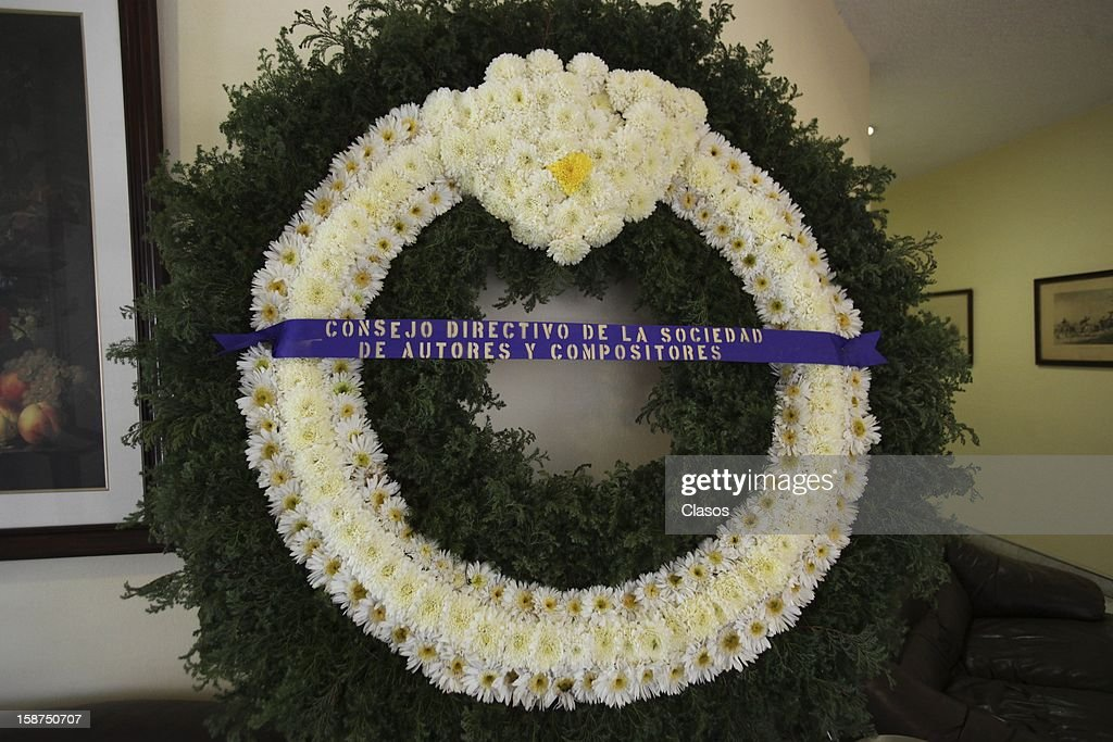 View of a wreath during the funeral of Mexican composer Elena Ema Valdemar on December 24, 2012 in Mexico City, Mexico.