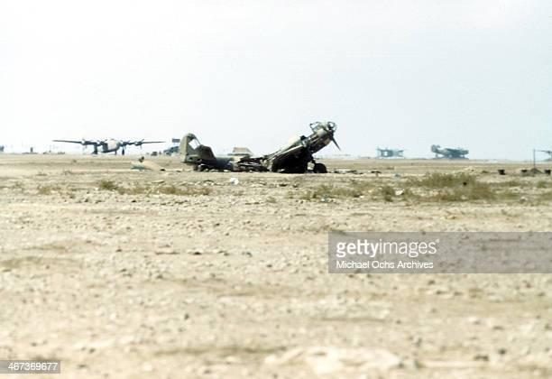 A view of a wrecked bomber as the 376th Bombardment Group flying B24Liberators take off at the US Air Force Base in Benghazi Libya