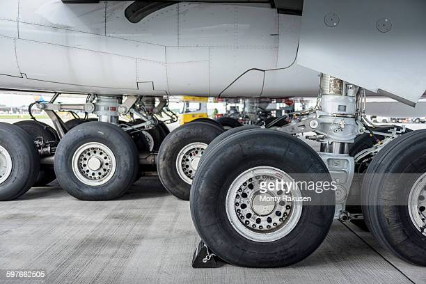 View of A380 aircraft landing gear and wheels