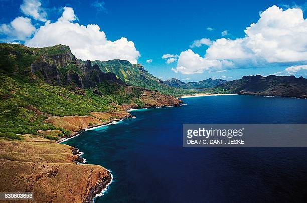 View of Aakapa bay Nuku Hiva aerial view Marquesas islands French Polynesia