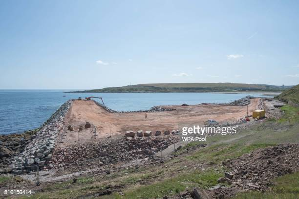 A view of Aberdeen Harbour's expansion into Nigg Bay during Scotland's First Minister Nicola Sturgeon visit to the site on July 17 2017 in Aberdeen...