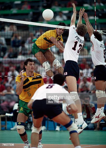 View of action during the final of the Men's volleyball event between Brazil and the Netherlands at the 1992 Summer Olympics in the Vall d'Hebron...