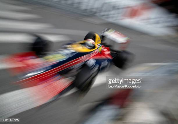 View of action with French racing driver Philippe Alliot driving the Larrousse Calmels Lola LC88 Ford Cosworth DFZ V8 during competition in the...