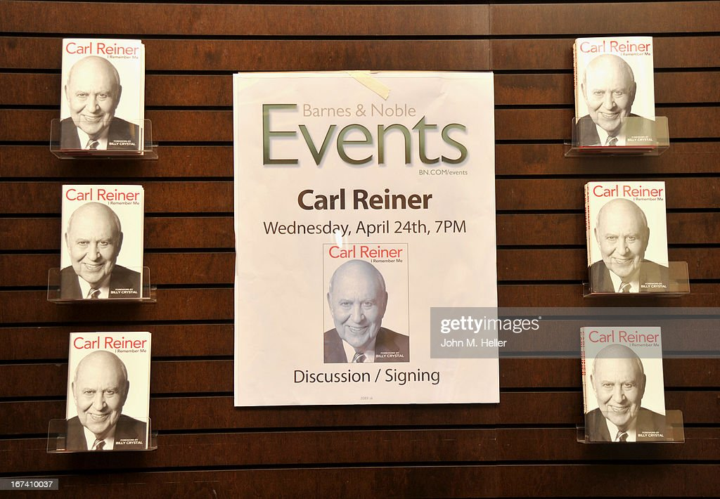 A view of actor/comedian <a gi-track='captionPersonalityLinkClicked' href=/galleries/search?phrase=Carl+Reiner&family=editorial&specificpeople=660635 ng-click='$event.stopPropagation()'>Carl Reiner</a>'s new book 'I Remember Me' during a book signing at Barnes & Noble bookstore at The Grove on April 24, 2013 in Los Angeles, California.