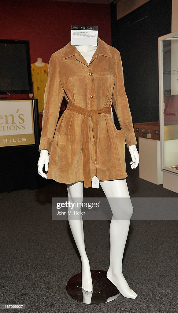A view of actress Elizabeth Taylor's Hermes Suede coat at the press preview for Icons & Idols Fashion and Hollywood Exhibit at Julien's Auctions Gallery on November 5, 2013 in Los Angeles, California.