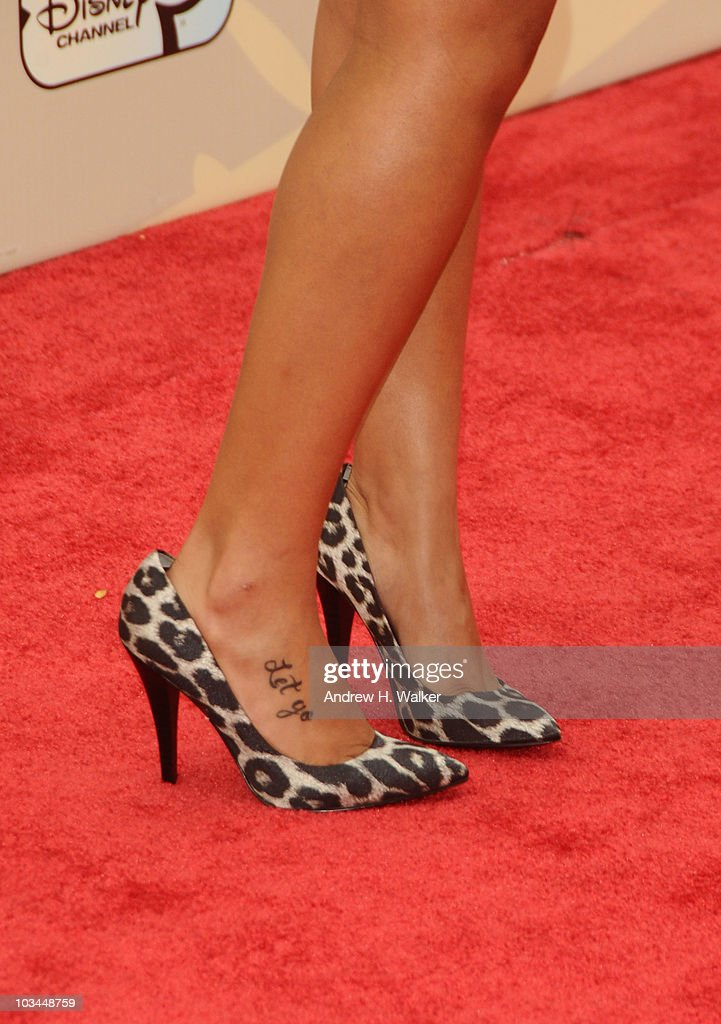 A view of actress Jasmine Richards' shoes attend the premiere of 'Camp Rock 2 The Final Jam' at Alice Tully Hall Lincoln Center on August 18 2010 in...