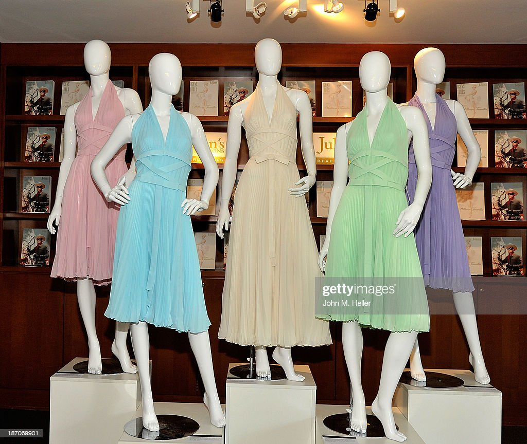 A view of actress Marilyn Monroe's dress collection at the press preview for Icons & Idols Fashion and Hollywood Exhibit at Julien's Auctions Gallery on November 5, 2013 in Los Angeles, California.