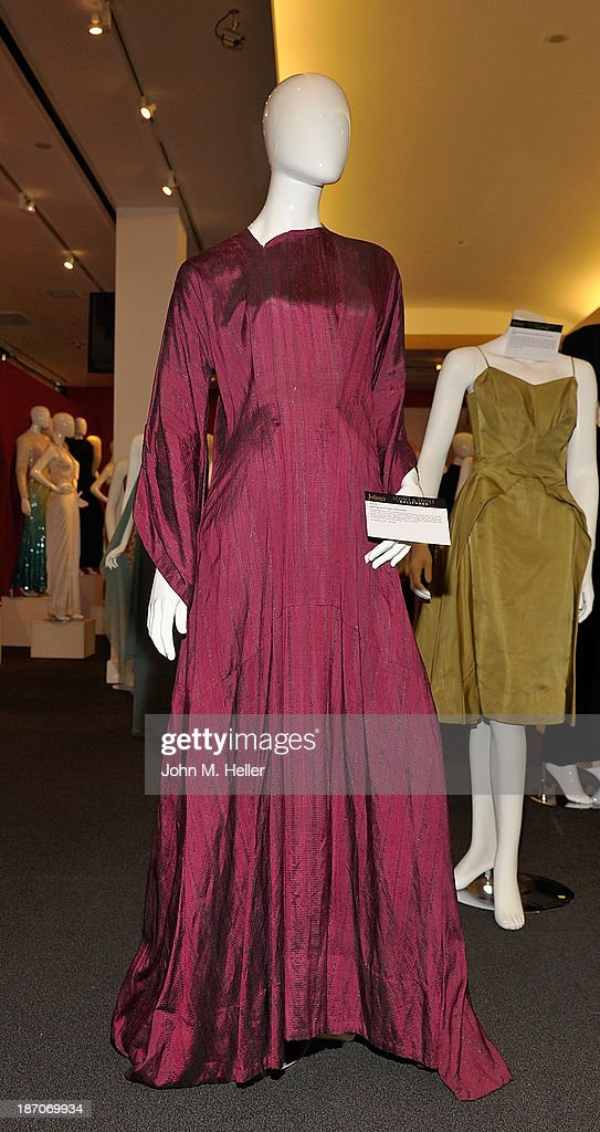 A view of actress Martha Scott's 'Ben Hur' gown at the press preview for Icons & Idols Fashion and Hollywood Exhibit at at Julien's Auctions Gallery on November 5, 2013 in Los Angeles, California.