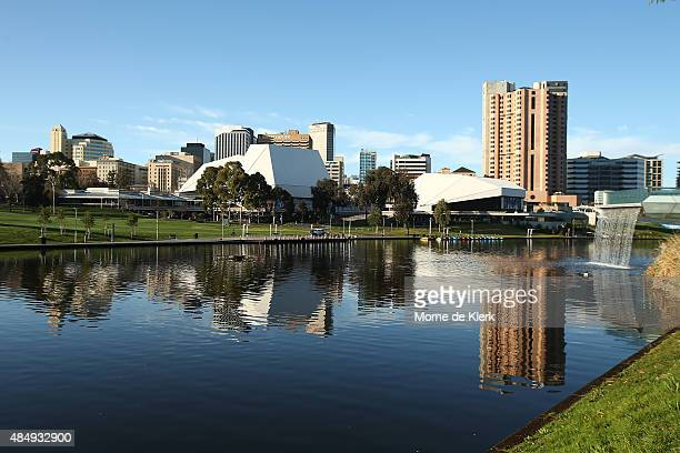 A view of Adelaide city and the River Torrens General views of Adelaide on August 23 2015 in Adelaide Australia