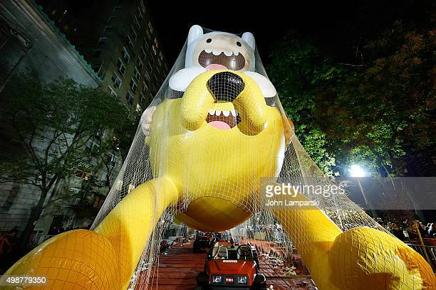 View of Adventure Time Baloon during the 89th Annual Macy's Thanksgiving Day Parade Rehearsals Inflation Eve on November 25 2015 in New York City