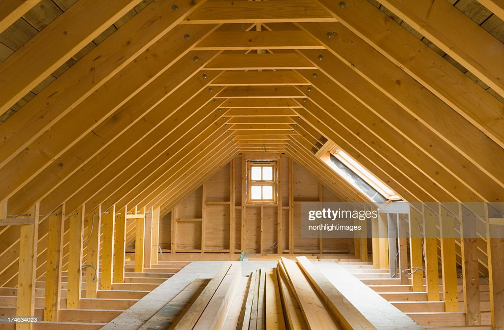 attic in house. view of aframe attic in a newlybuilt home stock photo house