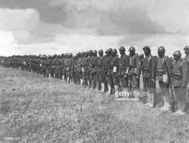 View of African American troops of the 369th Infantry formerly the 15th Regiment New York Guard and organized by Colonel Haywood who were among the...