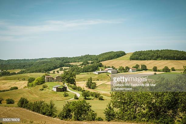 View of agricultural landscape, Prades, Midi Pyrenees, France