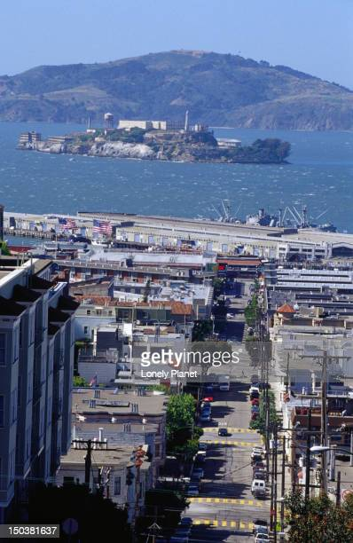 A view of Alcatraz island from Russian Hill in San Francisco.