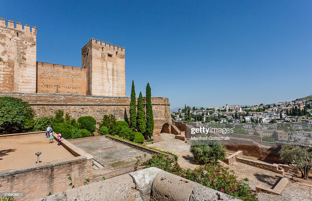 View of Alcazaba's east towers : Stock Photo