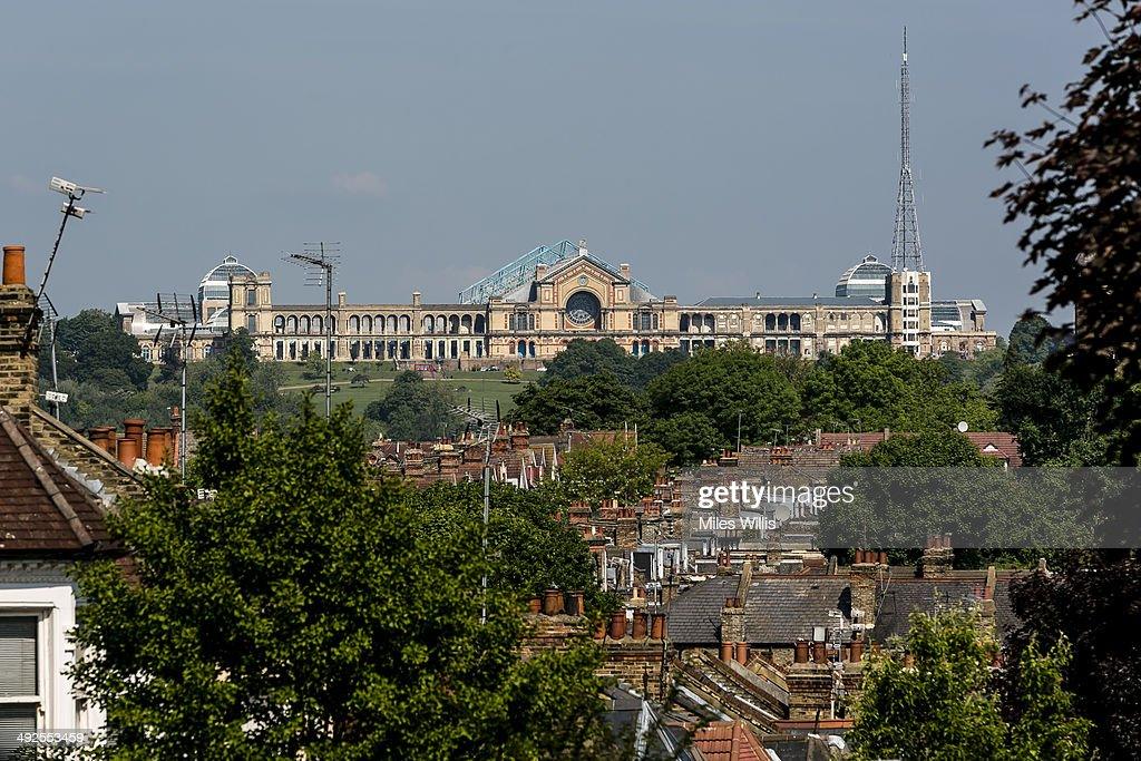 A view of Alexandra Palace on May 16, 2014 in London, England. Alexandra Palace situated in the London Borough of Haringey First opened as 'The People's Palace' in 1873. Just 16 days later a fire broke out in the Palace, burning it down in its entirety. On 2 November the world's first regular high-definition public television broadcast took place from the BBC studios at Alexandra Palace. In 1980 fire again burned a large part of the building, the Palace reopened in 1988. Recently awarded a Round 1 pass from The Heritage Lottery Fund the Palace plans to renovate parts of the derelict building including the BBC Studios and Victorian Theatre.
