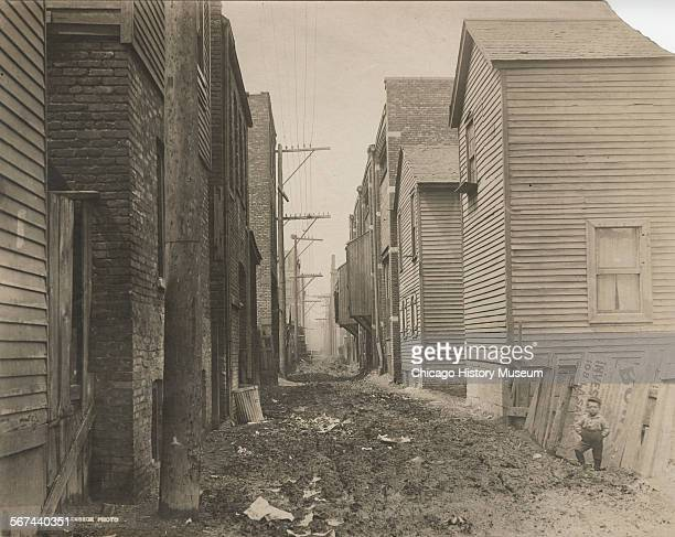 View of alley north of Taylor Street west from Jefferson Street Chicago Illinois April 28 1910