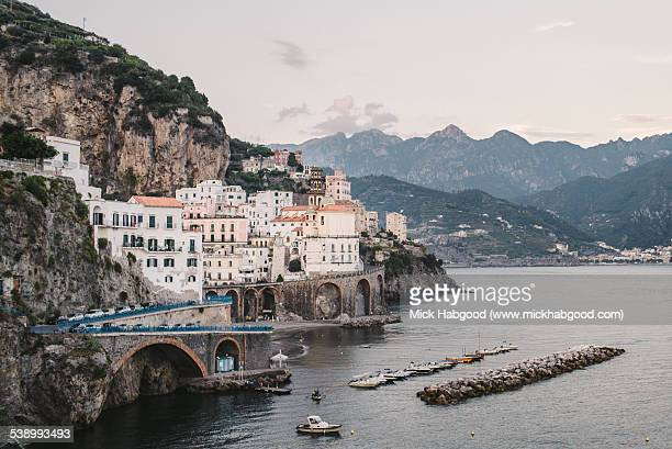 View of Amalfi on Amalfi Coast, Italy at dusk