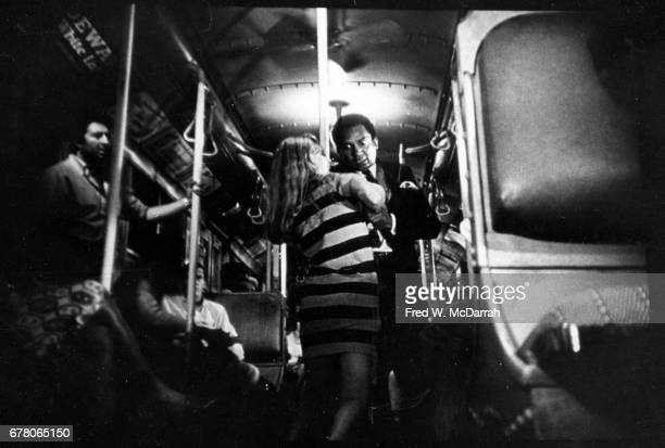 View of American actors Shirley Knight and Al Freeman Jr struggle in a scene from the film 'Dutchman' New York New York February 16 1967