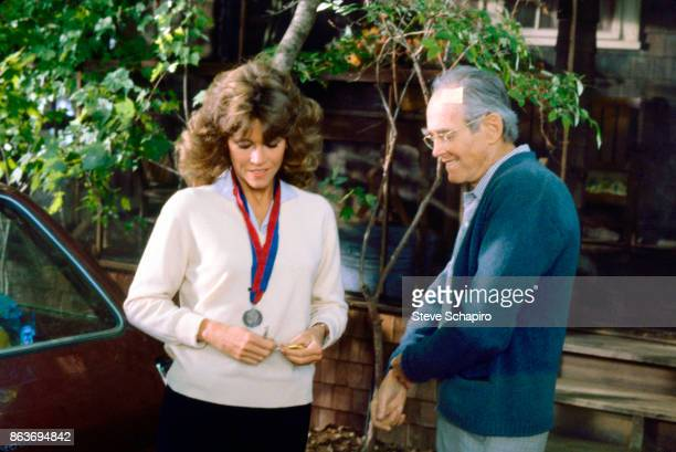 View of American actress Jane Fonda and her father actor Henry Fonda in a scene from the film 'On Golden Pond' New Hampshire 1981 The pair portray a...