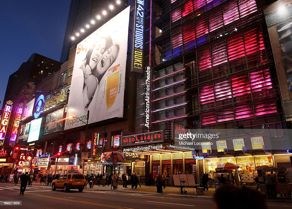 A view of American Airlines Theatre before the dimming of the marquees of Broadway theatres in rememberance of actress Natasha Richardson March 19...