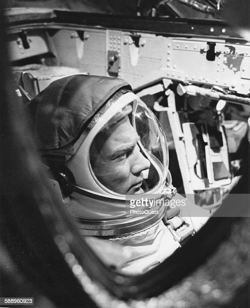 View of American astronaut Edwin 'Buzz' Aldrin in a Gemini 12 space capsule craft during a simulation Cape Kennedy Florida November 1966
