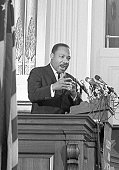 View of American Civil Rights leader Dr Martin Luther King Jr as he speaks from a lecturn at the New York Avenue Presbyterian Church Washington DC...