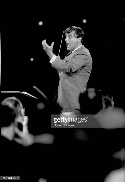 View of American composer musician and conductor Leonard Bernstein as he conducts a performance at Carnegie Hall New York New York 1959