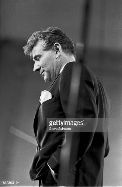 View of American composer musician and conductor Leonard Bernstein as he conducts at Carnegie Hall New York New York 1959