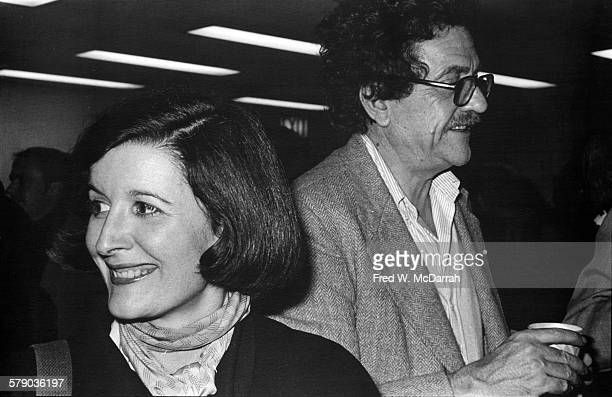 View of American photographer Jill Krementz and author Kurt Vonnegut Jr as they attend an unspecified event New York New York January 8 1978 The...