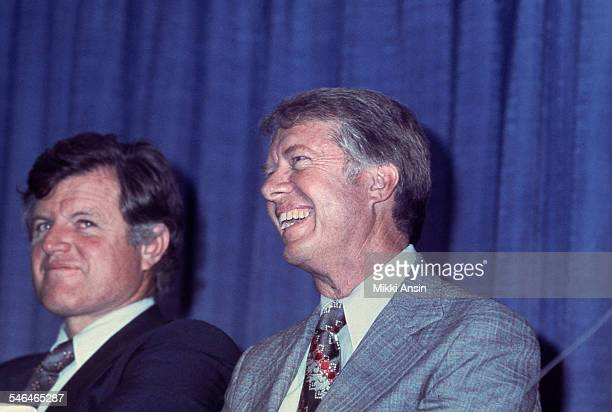 View of American politicians Ted Kennedy and Presidential Candidate Jimmy Carter at a Carter campaign event Boston Massachusetts 1976