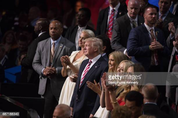 View of American real estate developer and presidential candidate Donald Trump and his children during the Republican National Convention at Quicken...