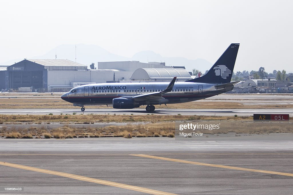 View of an AeroMexico plane on the tarmac at the Benito Juarez International Airport in Mexico City, Mexico on January 18, 2013. The mexican airline maintains its decision to add 19 Boeing 787 while airlines worldwide grounded their 787 Dreamliners because of the fire risk.