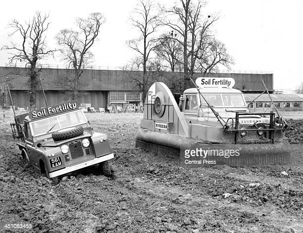 A view of an 'AirCushioned' Land Rover that easily covers the the rough farm land in London England Circa 1950