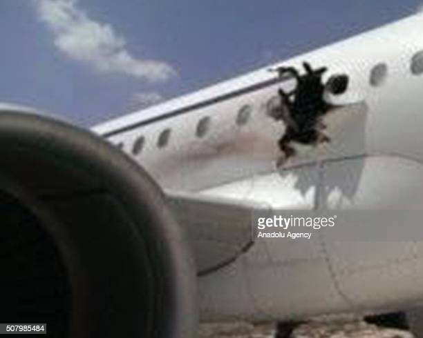 A view of an airliner after an explosion aboard Daallo Airlines Airbus flying to Djibouti on February 2 2016 The airliner made an emergency landing...