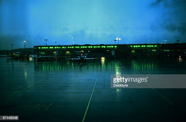 view of an airport runway in the night