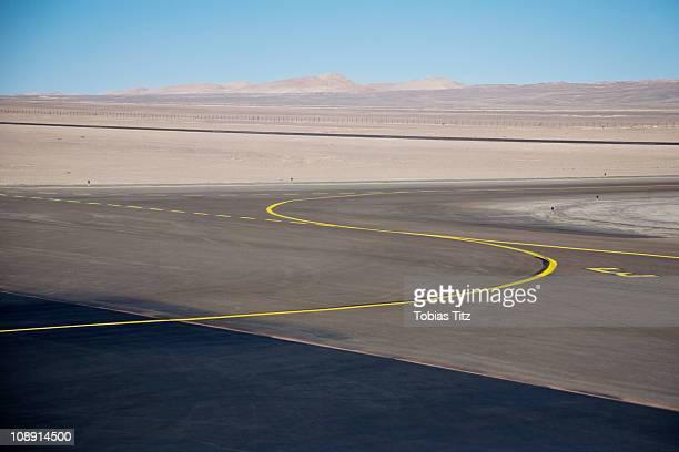 View of an airport tarmac in the Atacama Desert, Chile