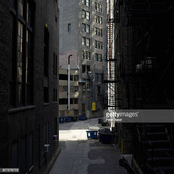 View of an alley and city buildings