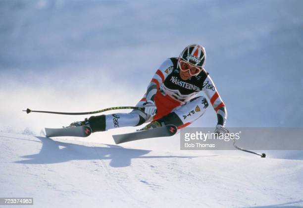 View of an alpine skier competing in the Men's competition in the FIS 1988 Alpine Skiing World Cup at Bad Kleinkirchheim in Austria in January 1988