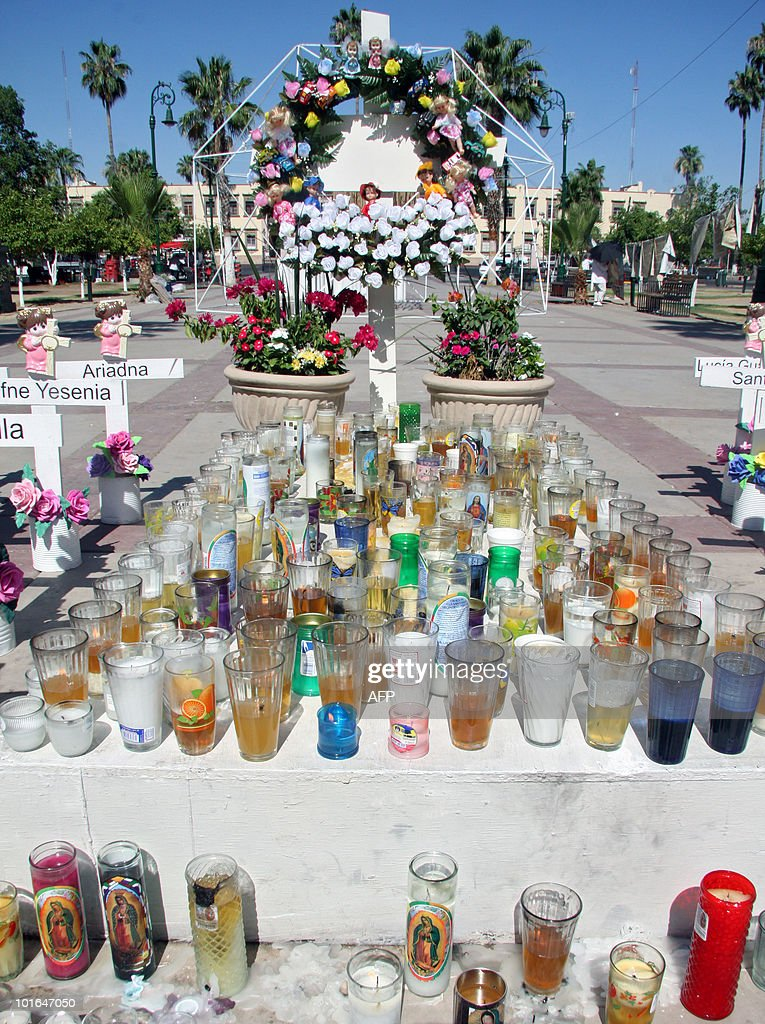 View of an altar for the victims of a fire at a day care center, in Hermosillo, Sonora State, Mexico on June 5, 2010. Relatives of 49 children killed in a fire at a day care center a year ago demanded that officials - who failed to ensure the center's safety - be brought to justice. AFP PHOTO/Joel Garcia