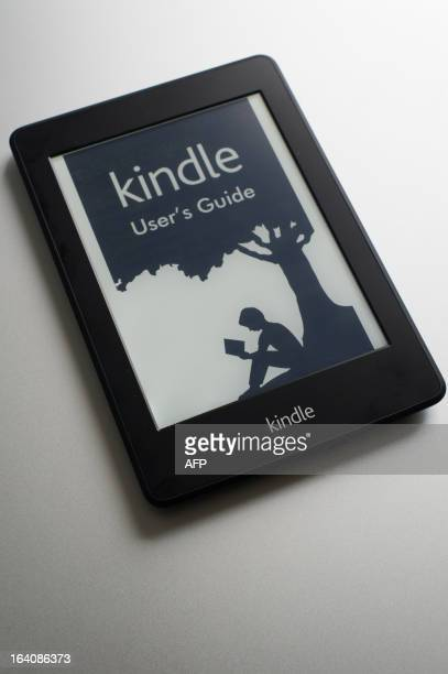 View of an Amazon's Kindle reader which will be sold in 299 Reais for the Brazilian market in Sao Paulo Brazil on March 15 2013 AFP PHOTO/Yasuyoshi...
