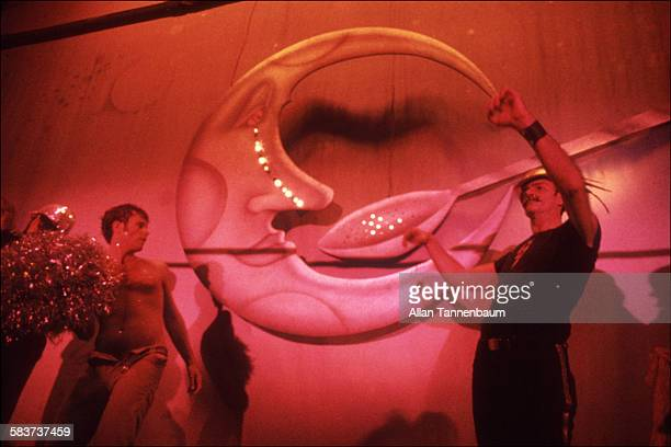 View of an animated Man in the Moon and Spoon lighted sign at Studio 54 New York New York May 9 1978