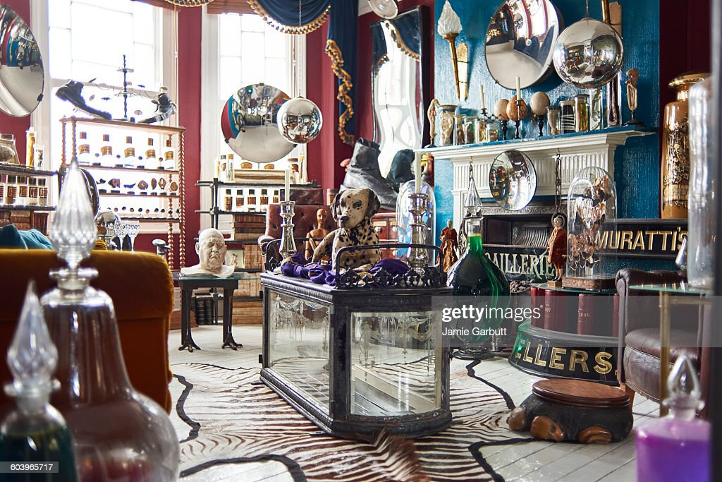 A view of an antiques dealers living room
