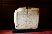 View of an archaeological Mayan engraved stone dating from 250 to 900 AD that was repatriated to Guatemala after being located in 2011 in a private...