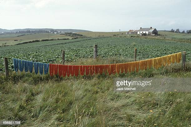 View of an art installation on the property of British pop artist Gerald Laing a castle in the Scottish Highlands Scotland 1970