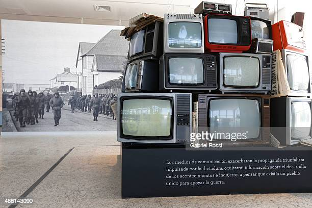 View of an art installation to represent the media coverage during the 1982 Malvinas Island war at Malvinas e Islas del Atlántico Sur Museum on March...